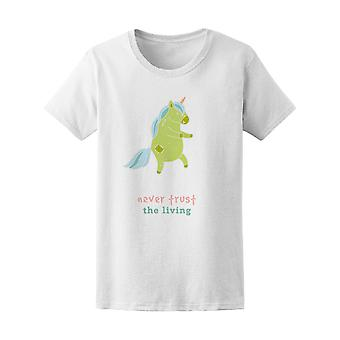 Nunca confiar, Zombie unicornio camiseta mujer-imagen de Shutterstock
