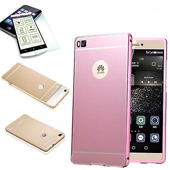 Aluminium bumper 2 piece pink + 0.3 mm H9 tempered glass for Huawei Ascend P8 Lite