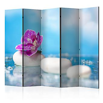 5-teiliges Paravent - Pink Orchid and white Zen Stones II [Room Dividers]