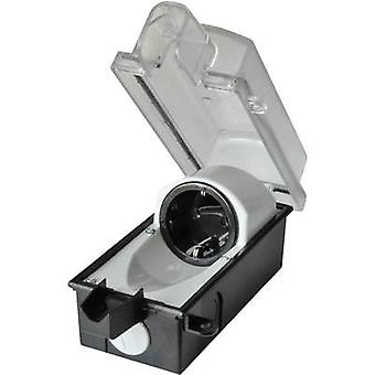 interBär 9015-001.01 Surface-mount socket låsbart IP44 svart, Transparent