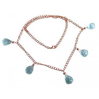 Água-marinha colar de cristal banhado a ouro Rosé ANITA colar de água-marinha