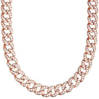Premium bling sterling silver Miami chain - 9mm rose gold