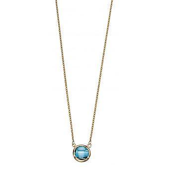 Elementer guld Topaz Bezel sæt halskæde - blå/guld