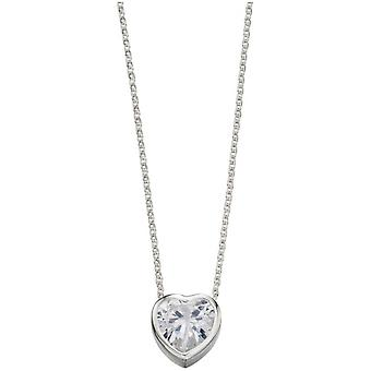Beginnings Cubic Zirconia Heart Necklace - Silver/Clear