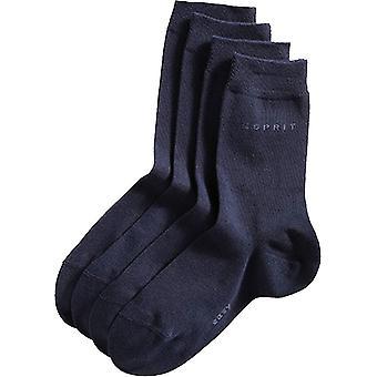 Esprit grundlæggende let 2 Pack Mid Læggen sokker - Marine Navy