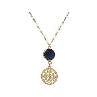 Colar gemshine feminino mandala safira prata, banhado a ouro ou rosa