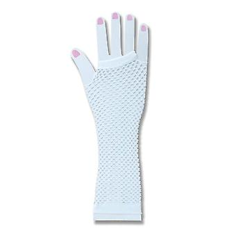 Bnov Fishnet Fingerless Gloves White