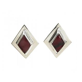 Cavendish French Sterling Silver and Formed Red Jasper Diamond Shaped Earrings