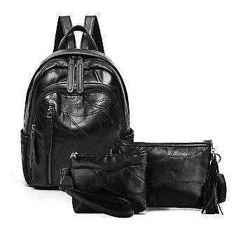 Backpack, shoulder bag and cosmetic bag, genuine lambskin