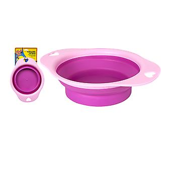 DIGIFLEX Pink Silicone Collapsible Pet Water Food Dog Bowl Travel Storage