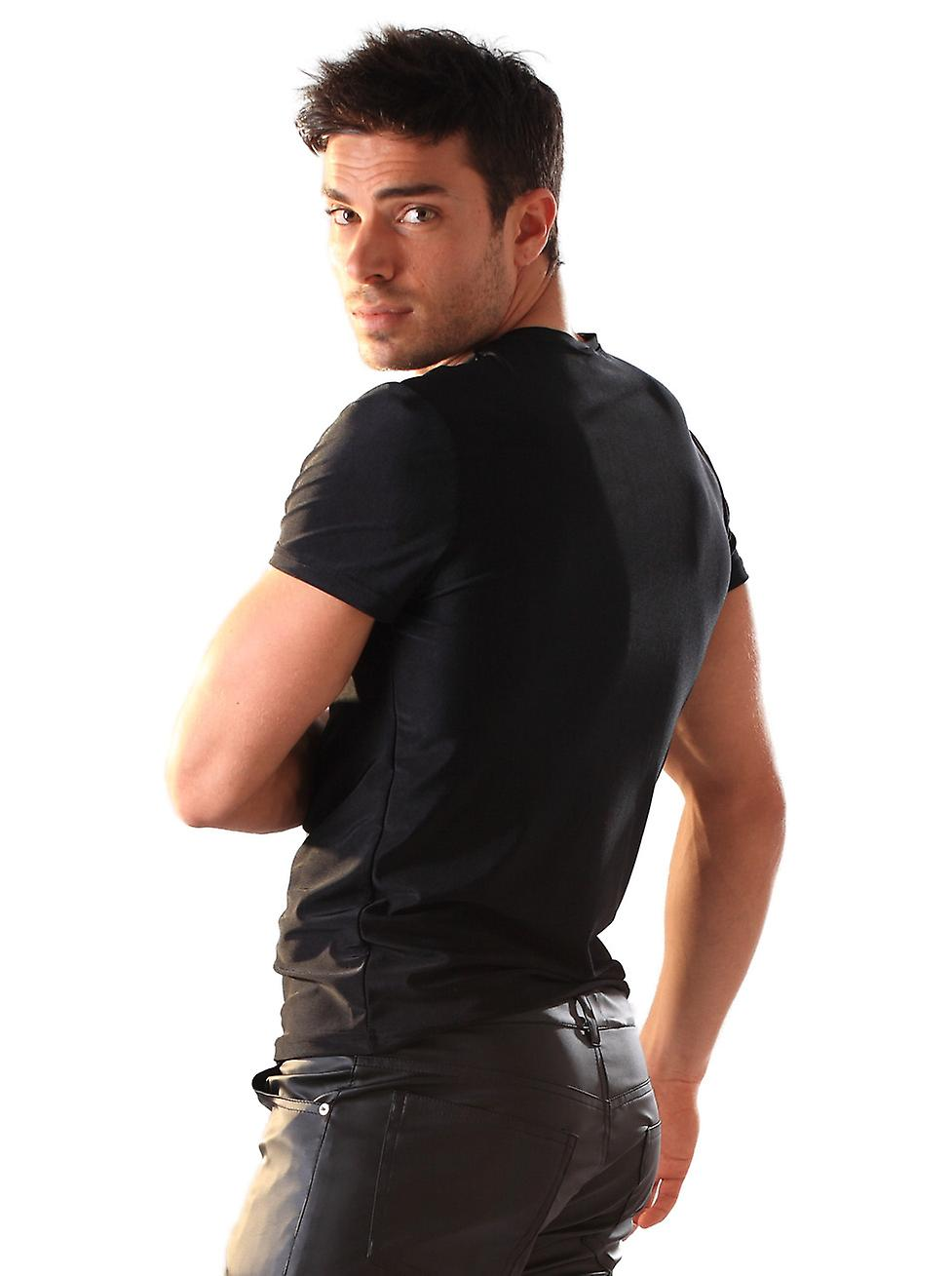 Skin Two Clothing Men's T Shirt Black Lycra Sexy Stretch Stud Outfit Style