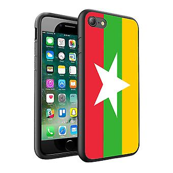 For Apple iPhone 7 - Myanmar Flag Design Printed Black Case Skin Cover - 0120 by i-Tronixs