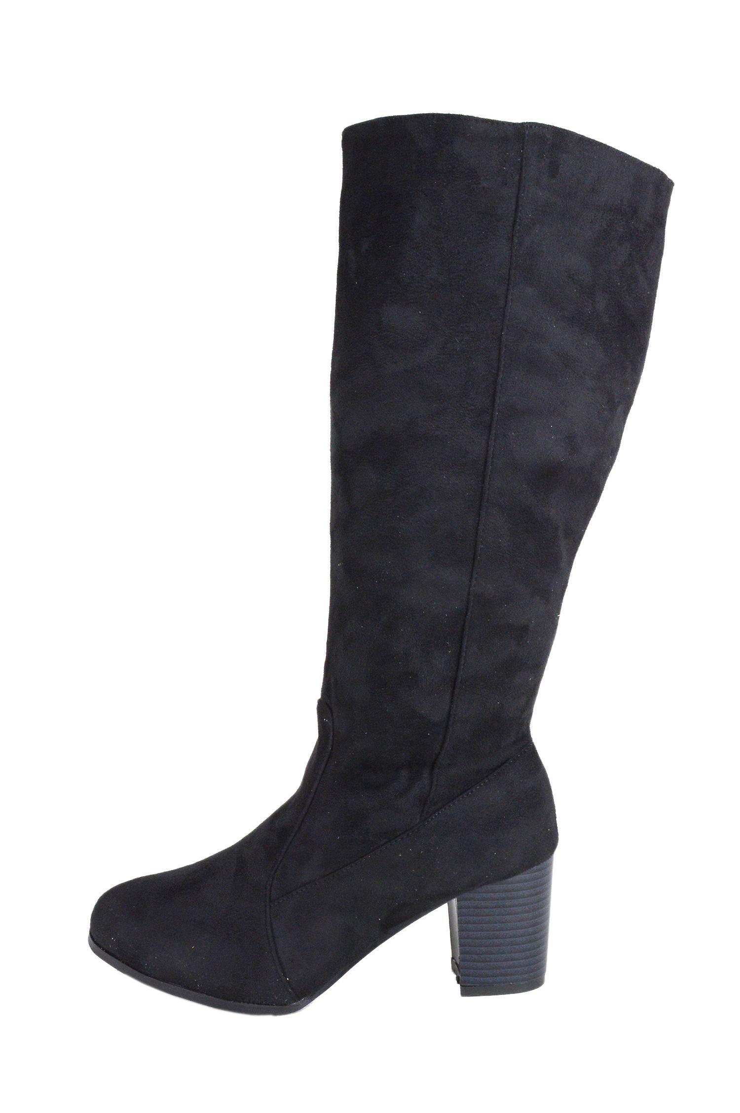 LMS Black Suede Block Heel Knee High Boot