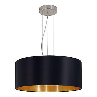 Eglo - Maserlo nichel 3 lampadario soffitto luce satinato nero EG31605