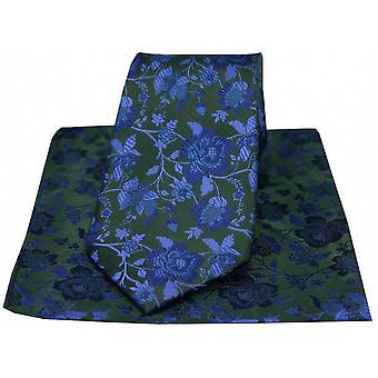 David Van Hagen Floral mønster slips og lommetørkle gaveeske - Blågrønn