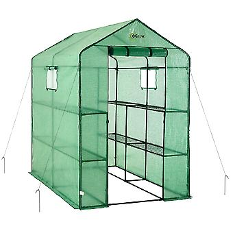 Draagbare grote wandeling in tuin kas - 2 Tier 8 Plank PE Plastic Grow House