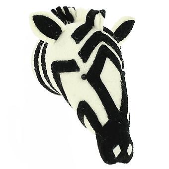 Fiona Walker England Zebra Mini Felt Animal Head, Wall Mounted