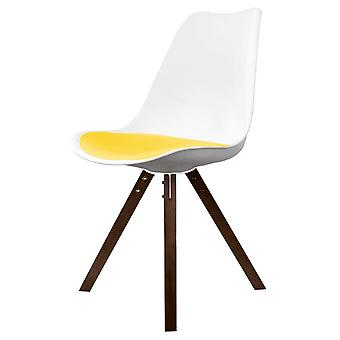 Fusion Living Eiffel Inspired White And Yellow Dining Chair With Square Pyramid Dark Wood Legs