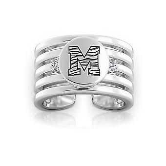 University Of Memphis Engraved Sterling Silver Diamond Multiband Cuff Ring