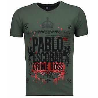 Pablo Escobar Boss-tekojalokivi T-paita-vihreä