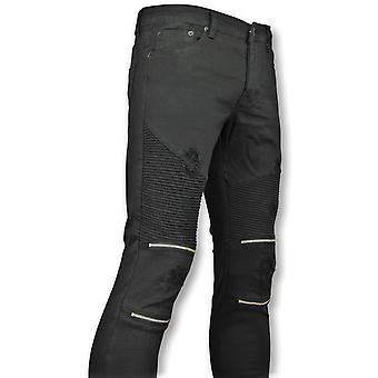 Black Skinny Biker Jeans With Cracks - 3011