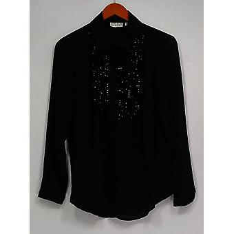 Joan Rivers Classics Collection Top Tuxedo Embellished Blouse Black A284456