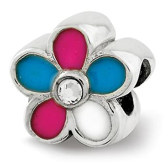 925 Sterling Silver Polished Pink Enamel Blue Enamel White Enamel finish Reflections Kids Enameled Flower Bead Charm Pen