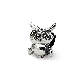 925 Sterling Silver Polished finish Reflections Kids Owl Bead Charm Pendant Necklace Jewely Gifts for Women