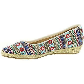 Beacon Womens Phoenix Fabric Pointed Toe Espadrille Flats