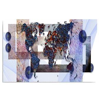 Lienzo, Imagen sobre lienzo, Composición con un mapa del mundo 3