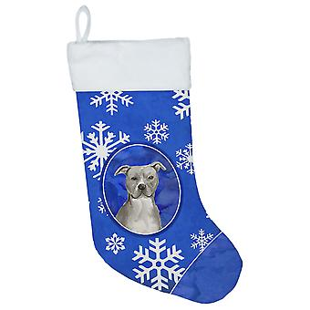 Winter Snowflakes Staffordshire Bull Terrier Christmas Stocking