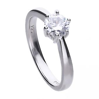 Diamonfire Silver White 6 Claw Solitaire Zirconia Ring R3620