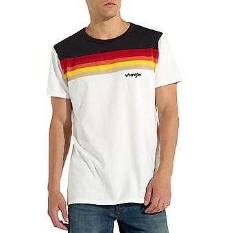 Wrangler Mens Cut and Sew Crew Neck Casual Short Sleeve T-Shirt Tee - Off White