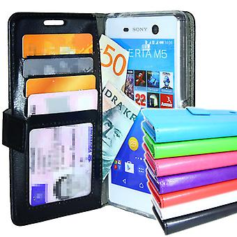 Sony Xperia M5 Wallet case 4pcs Card ID pocket + screen Protector