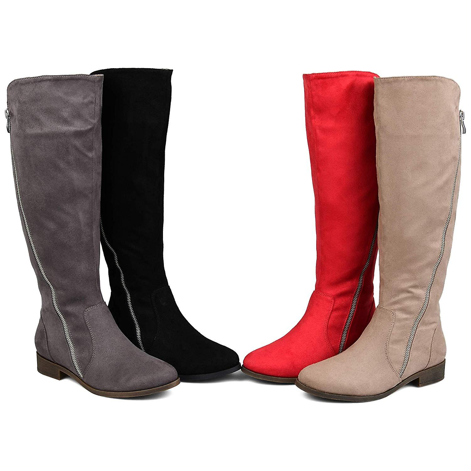 Brinley Co Comfort Womens Faux Suede Riding Boot Black, 7.5 Extra Wide Calf US
