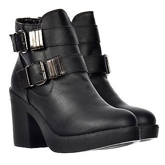 Onlineshoe Dubbel spänne Chelsea fotled boot med block Heel-svart