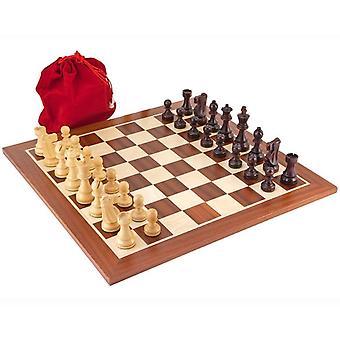 Antiqued British Mahogany Chess Set