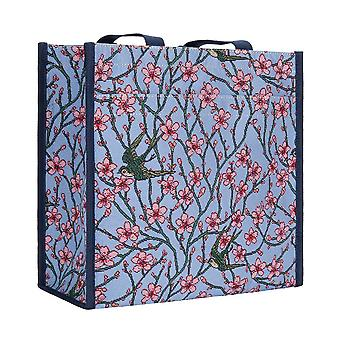 Almond blossom and swallow reusable shopper bag by signare tapestry / shop-blos