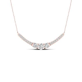 Igi certified 10k rose gold 0.50ct tdw natural diamond three stone necklace