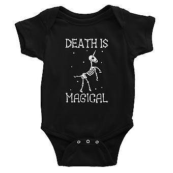 Death is Megical Unicorn Skeleton Funny Halloween Baby Bodysuit Gift Black