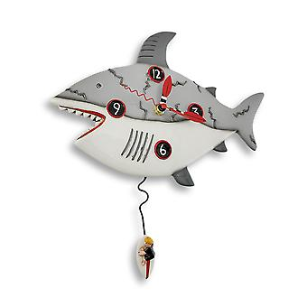 Allen Designs Surf at Risk Shark Wall Clock with Surfer Pendulum