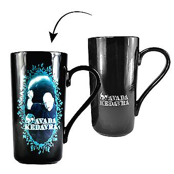 Harry Potter termo latte macchiato taza Voldemort negro impresos, cerámico, capacidad aprox. 500 ml.
