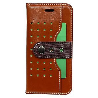 IPhone SE (2020), 8 & 7 lompakko tapauksessa Fierre Shann solki suojaava nahkakansi, ruskea