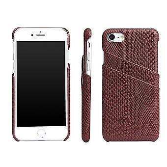 Für iPhone 8,7 Fall, elegante Deluxe Schlange Muster schützende Lederbezug, braun