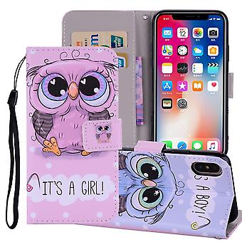 For iPhone XS MAX Cover,Leather Folio Wallet Card Slots Phone Case,Cute Owl