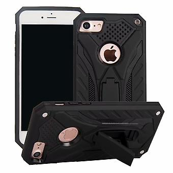 IPhone SE (2020), 8 & 7 tapauksessa, haarniska vahva iskunkestävä kova kansi jalusta, musta