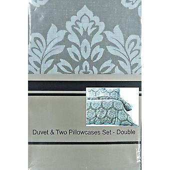 Damask Print Duvet Set Double LLA3F RRP £29