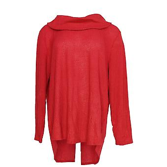 Estilo & Co. Women's Plus Top Cowl Neck Long Sleeve Waffle Knit Red
