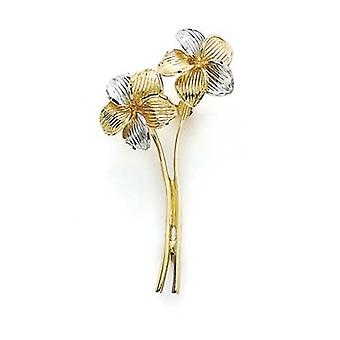 14k Two Tone Gold Two Flowers Pin Jewelry Gifts for Women - 6.4 Grams