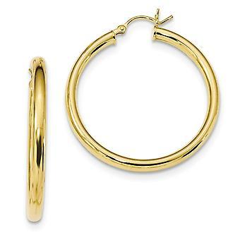 34,8 mm 925 Sterling Silber Gold Ton poliert Creolen Schmuck Geschenke für Frauen - 4,9 Gramm